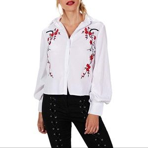Tops - White Blouse with Floral Embroidery